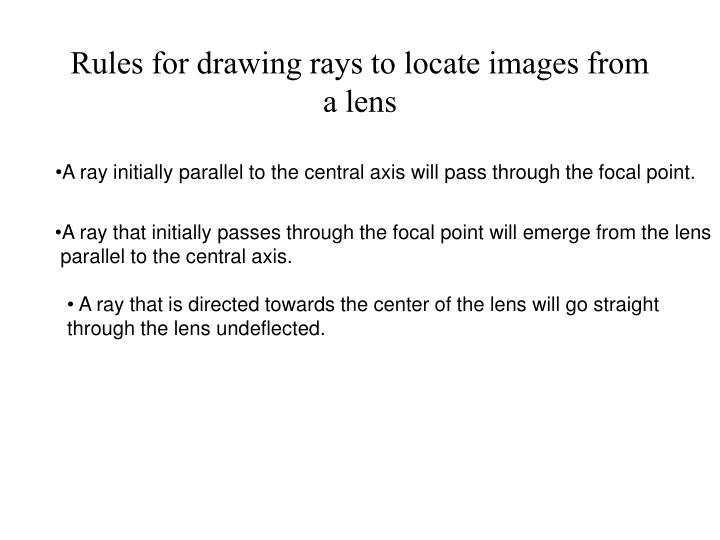 Rules for drawing rays to locate images from a lens