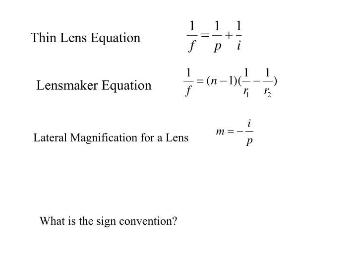 Thin Lens Equation