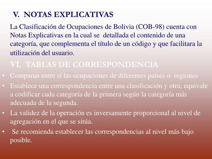V.  NOTAS EXPLICATIVAS