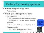 methods for choosing operators