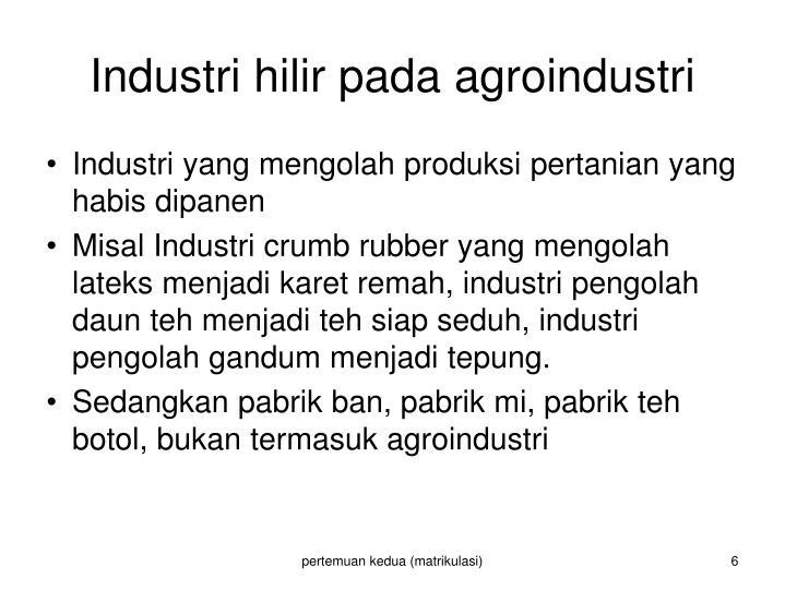 Industri hilir pada agroindustri
