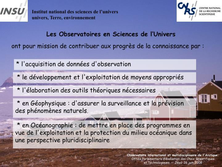 Les Observatoires en Sciences de l'Univers