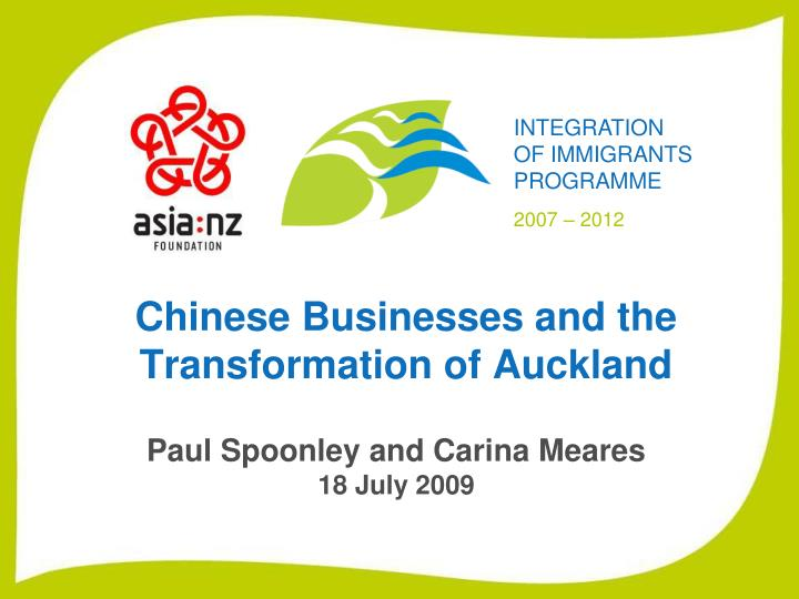 Chinese businesses and the transformation of auckland