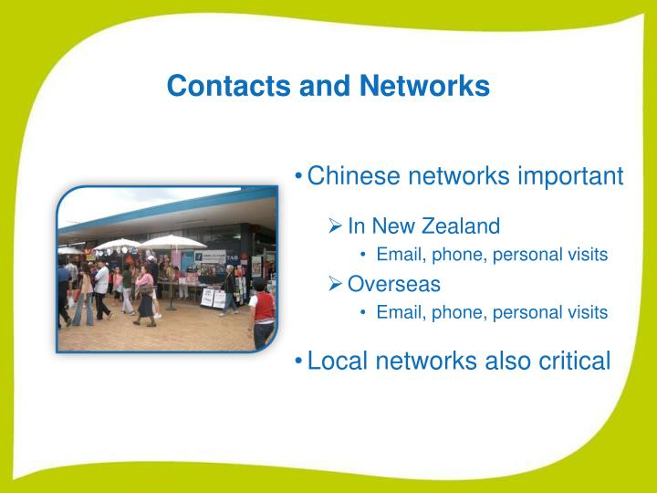 Contacts and Networks