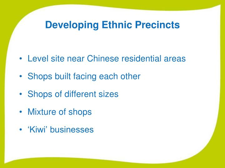 Developing Ethnic Precincts