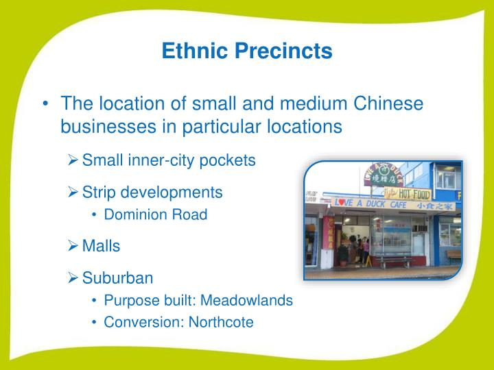 Ethnic Precincts