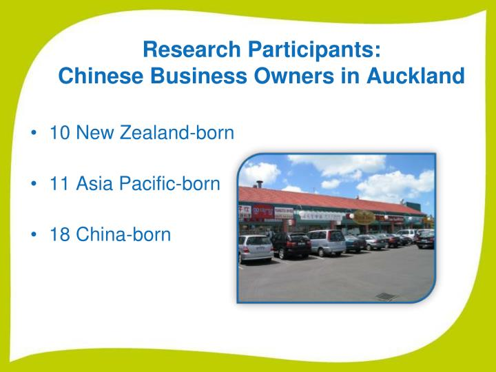 Research participants chinese business owners in auckland