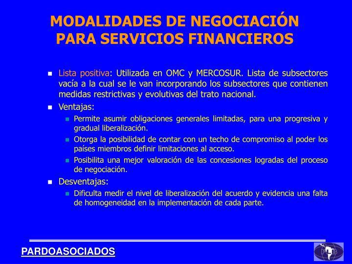 MODALIDADES DE NEGOCIACIÓN PARA SERVICIOS FINANCIEROS
