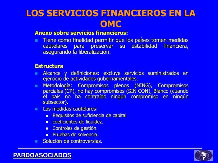 Anexo sobre servicios financieros: