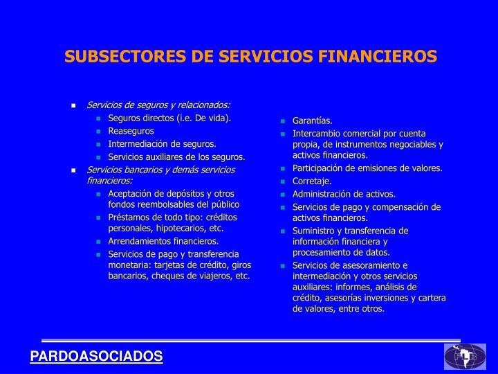 SUBSECTORES DE SERVICIOS FINANCIEROS