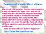 experiments funded by march of dimes