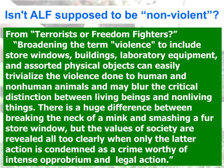 "Isn't ALF supposed to be ""non-violent""?"