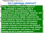 isn t sabotage violence