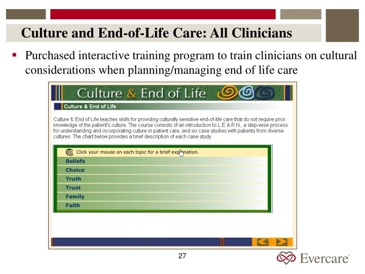 Culture and End-of-Life Care: All Clinicians