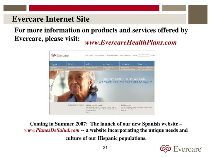 Evercare Internet Site