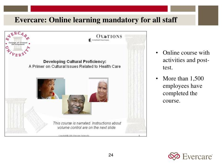 Evercare: Online learning mandatory for all staff