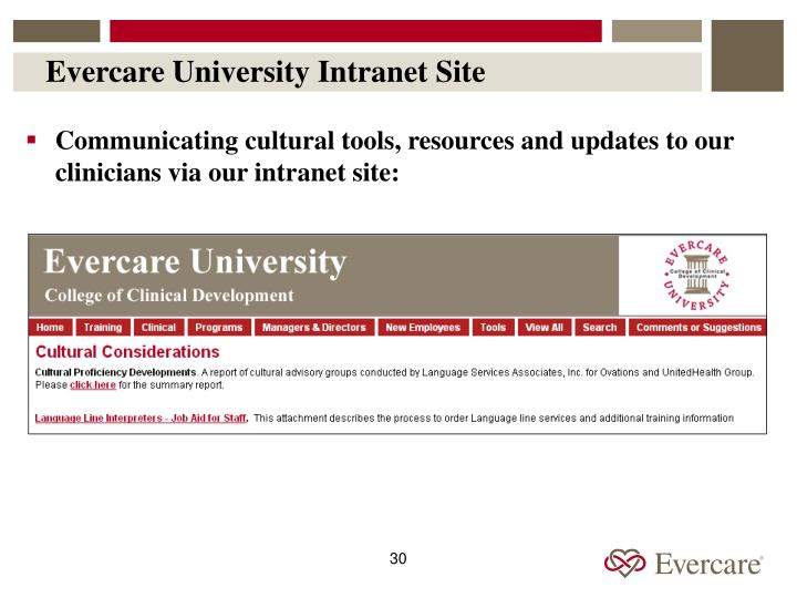 Evercare University Intranet Site