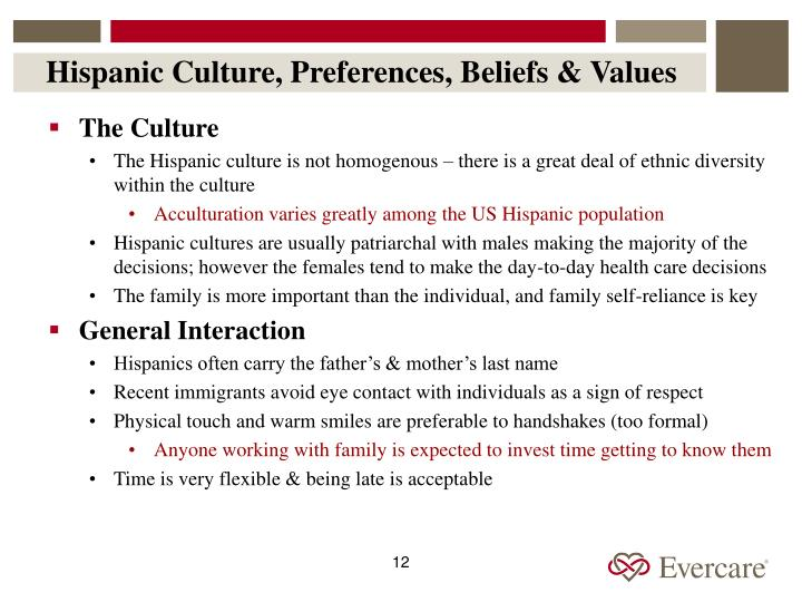 Hispanic Culture, Preferences, Beliefs & Values