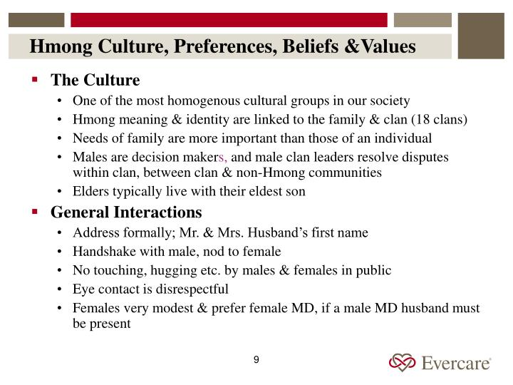 Hmong Culture, Preferences, Beliefs &Values