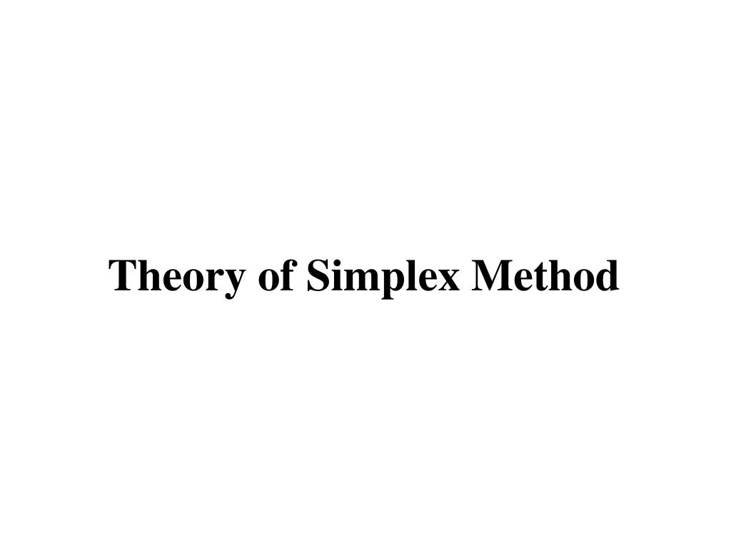 Theory of Simplex Method