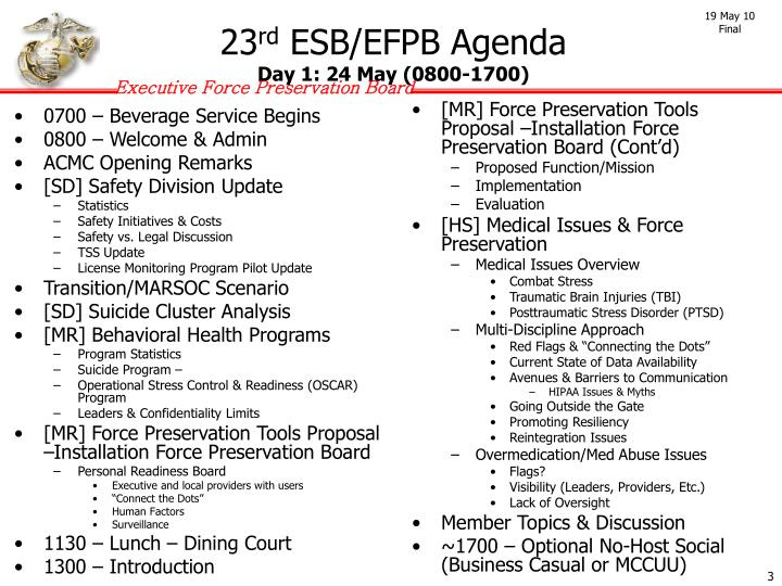 23 rd esb efpb agenda day 1 24 may 0800 1700