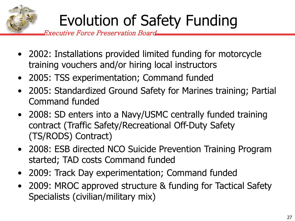 Evolution of Safety Funding