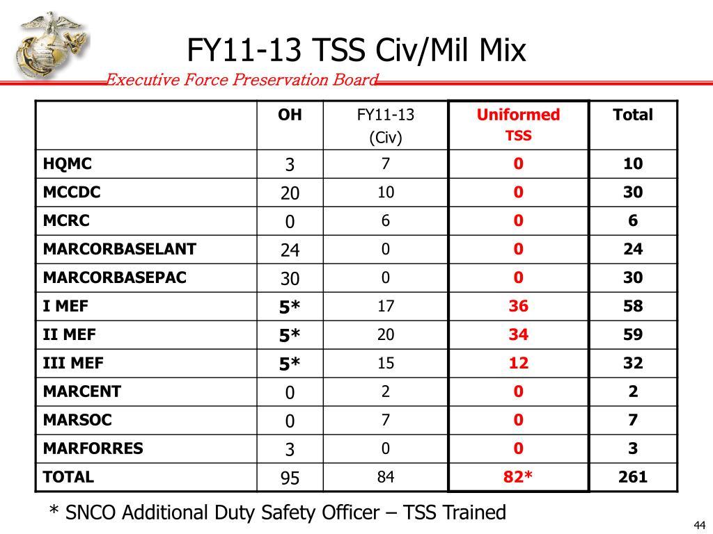 FY11-13 TSS Civ/Mil Mix