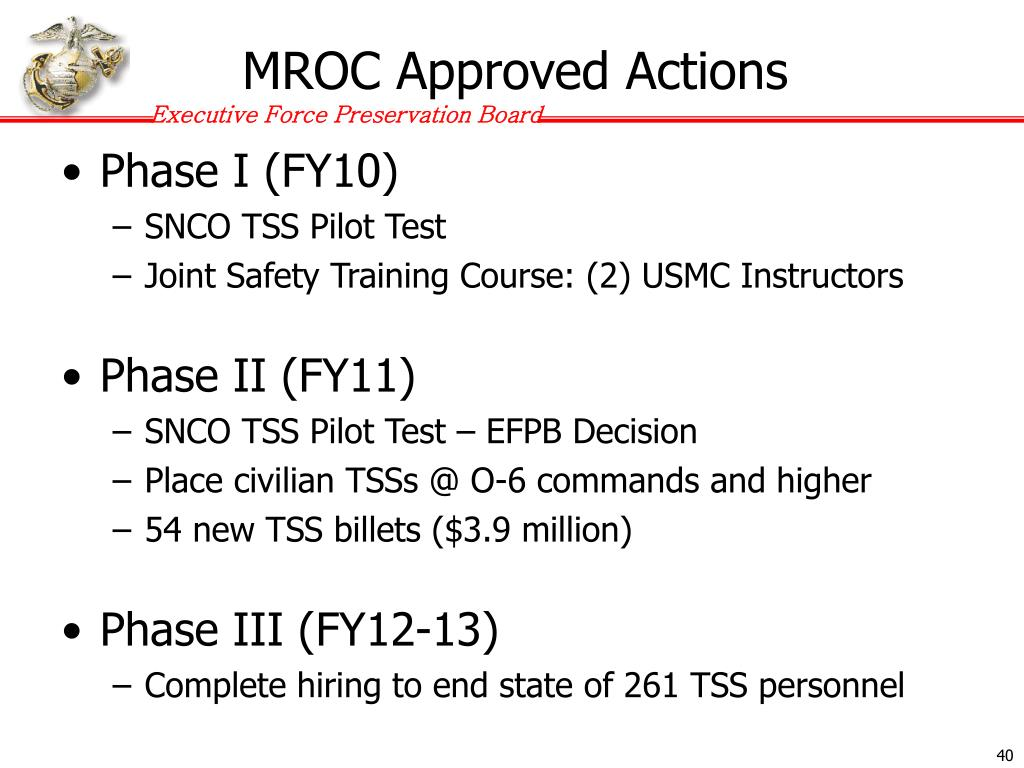 MROC Approved Actions