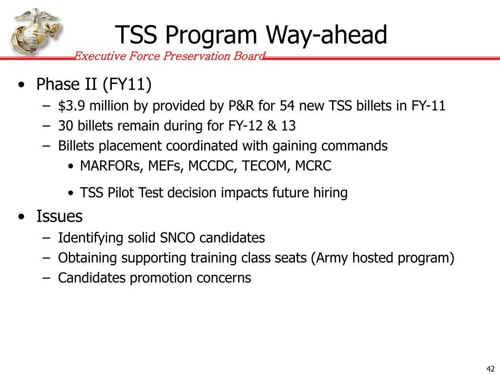 TSS Program Way-ahead