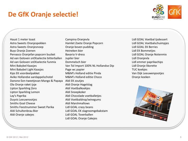 De GfK Oranje selectie!