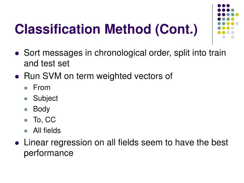 Classification Method (Cont.)