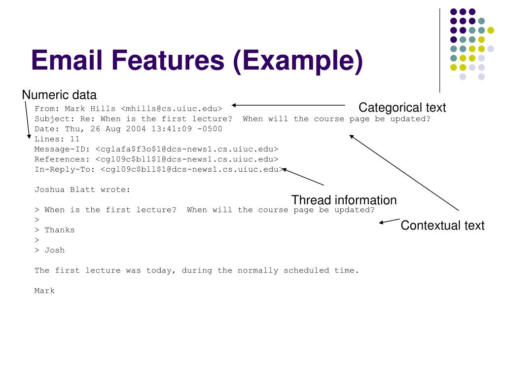Email Features (Example)