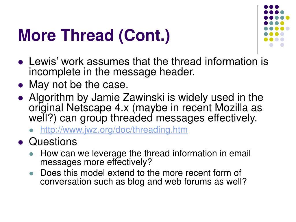 More Thread (Cont.)