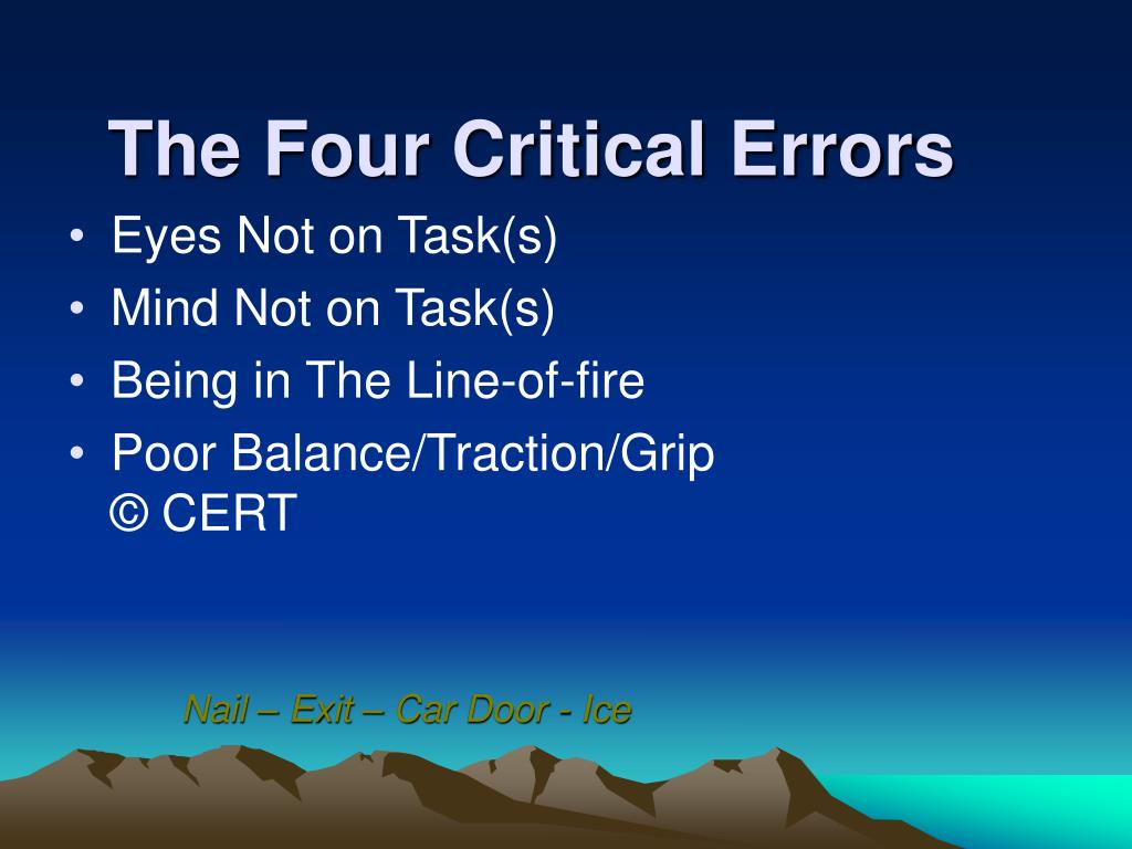 The Four Critical Errors