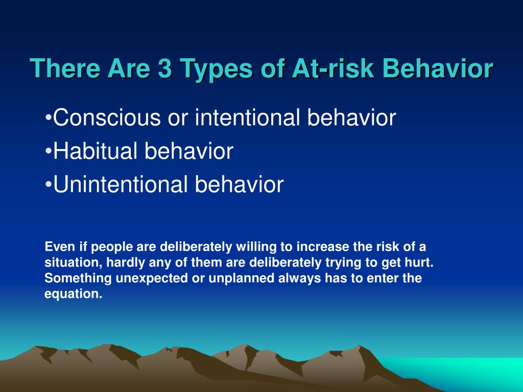 There Are 3 Types of At-risk Behavior