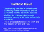 database issues