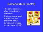 nomenclature cont d