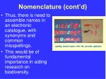 nomenclature cont d1
