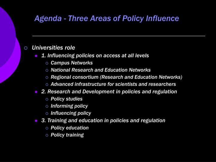 Agenda three areas of policy influence building blocks