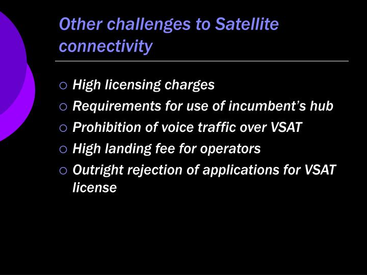 Other challenges to Satellite connectivity