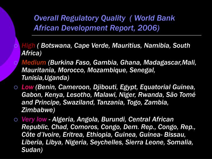 Overall Regulatory Quality  ( World Bank African Development Report, 2006)