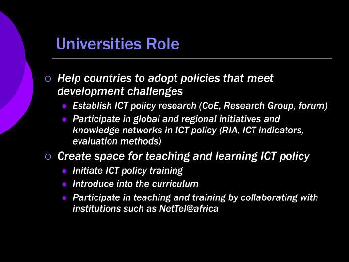 Universities Role