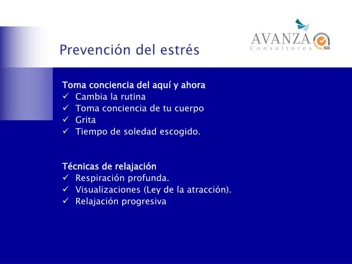 Prevención del estrés