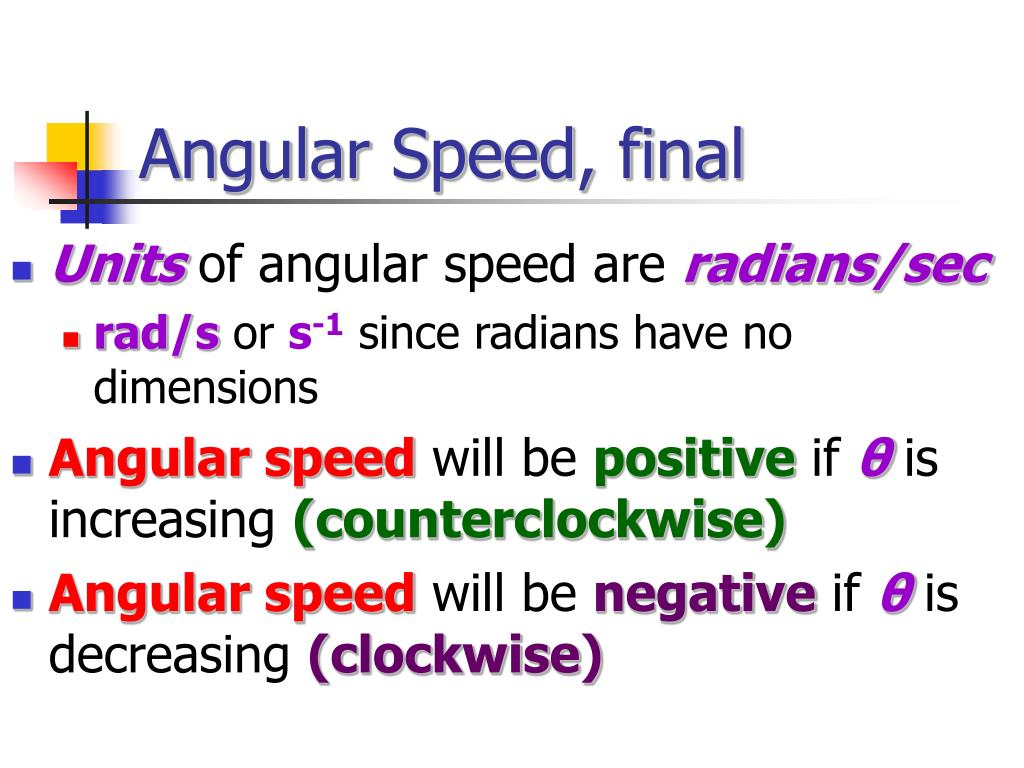 Angular Speed, final