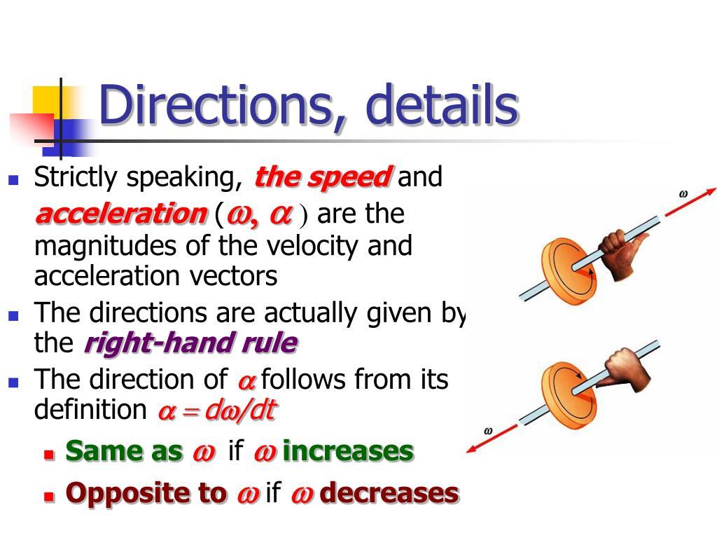 Directions, details