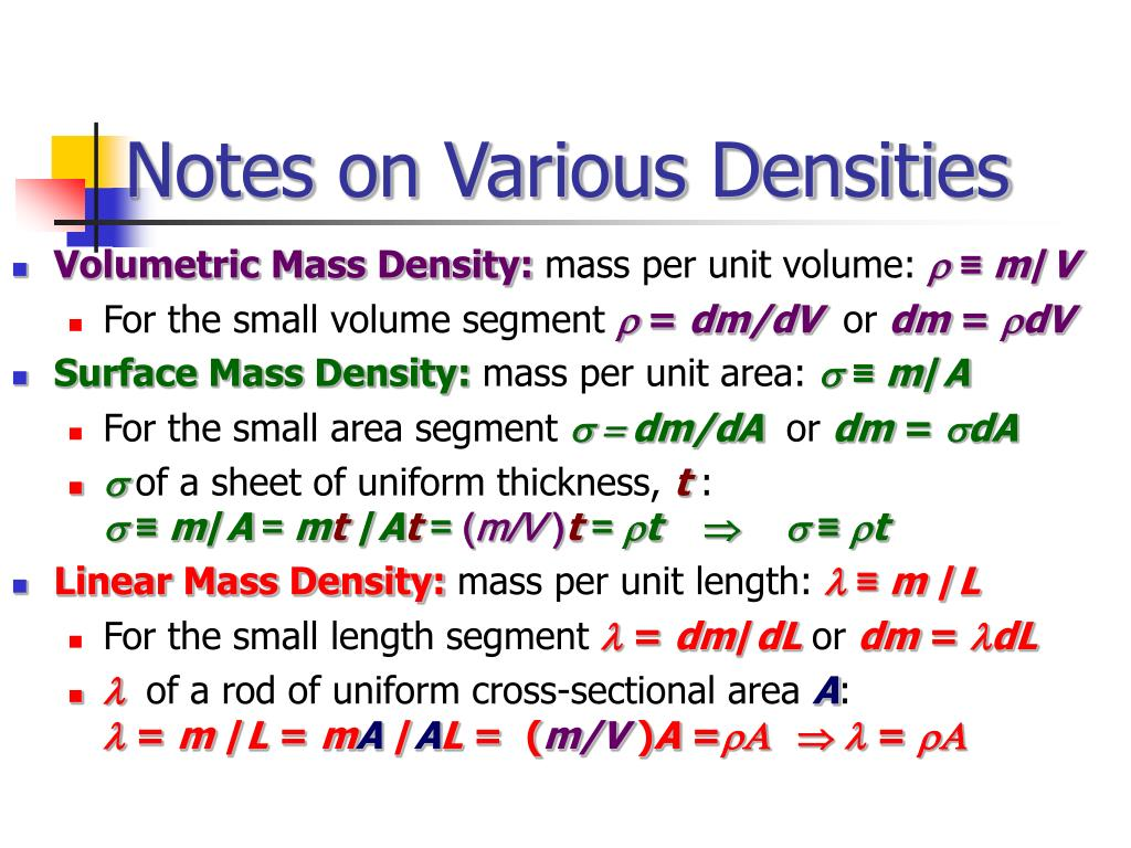Notes on Various Densities