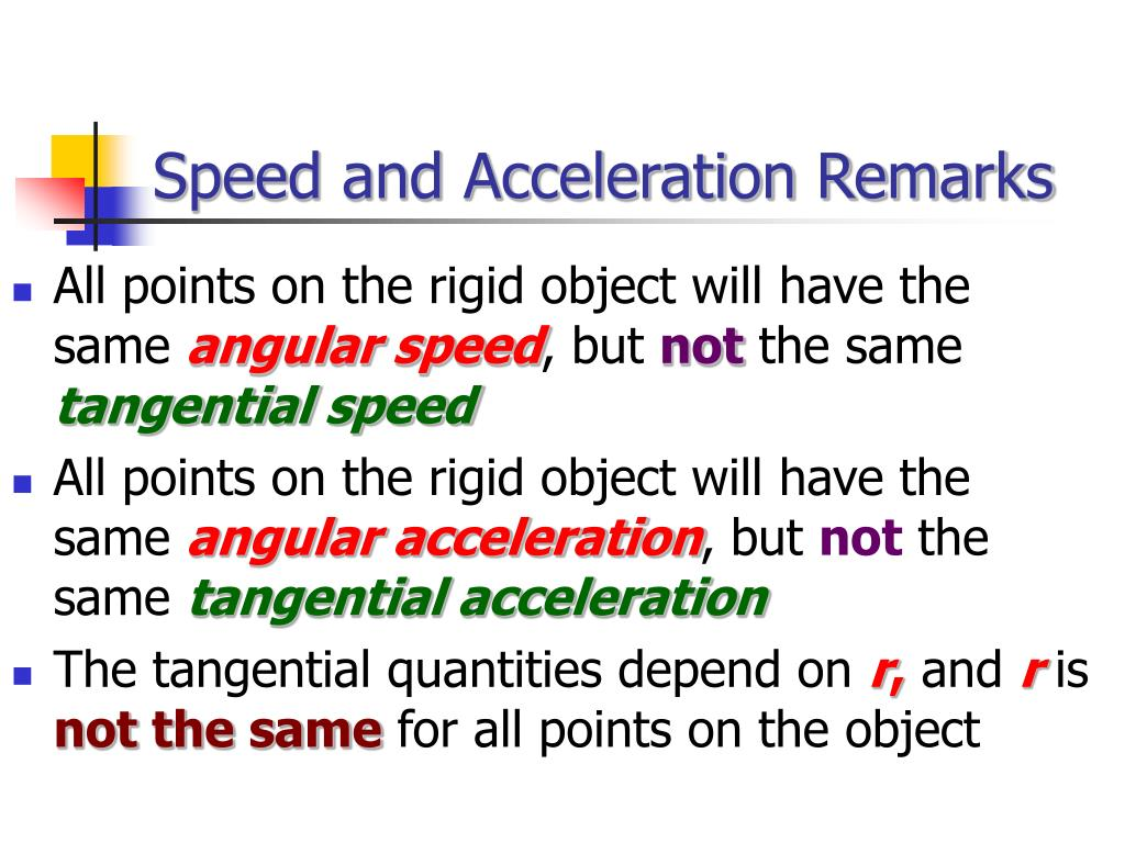 Speed and Acceleration Remarks