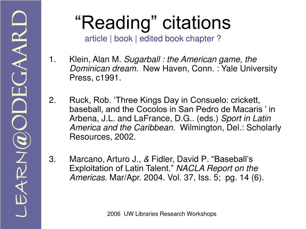 """Reading"" citations"