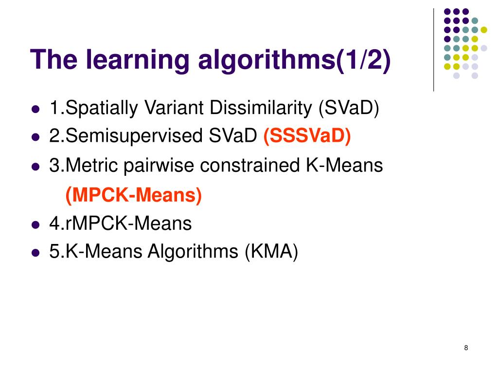 The learning algorithms(1/2)