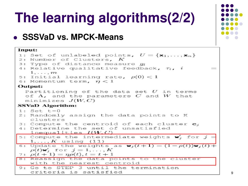 The learning algorithms(2/2)